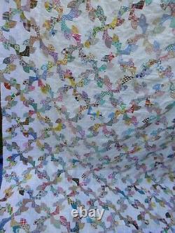 Vintage Cotton Hand Made Drunkards Path Quilt Top 76 x 90 Small 3 Blocks