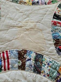 Vintage Double Wedding Ring Quilt, Queen Size, Handmade