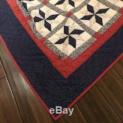 Vintage Eight Point Star Hand Made Hand Pieced Quilt 98 X 84 5 Stars