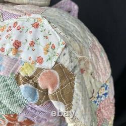 Vintage Feedsack Quilt Jacket Handmade Antique Patchwork Hexagon K. A. S. Original