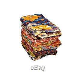 Vintage Fine Kantha Quilt Reversible Throw Gudri Wholesale Handmade Blanket 10pc