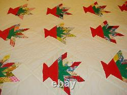 Vintage Flower Basket Hand Stitched Patchwork Applique Quilt/bedspread/comforter