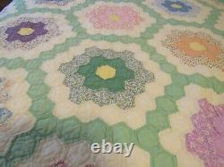 Vintage Grandma's Flower Garden Hand Made Quilt