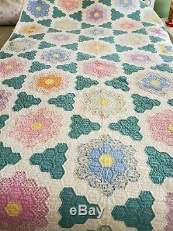 Vintage Grandma's Garden Quilt 52 x 91 Hand Made Hand Quilted