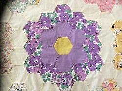 Vintage'Grandmother's Flower Garden' Quilt Top Pieced/Hand Stitched 96x100