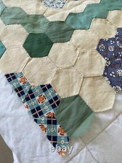 Vintage Grandmothers Flower Garden Patchwork Quilt Top Topper FeedSack Hand Made