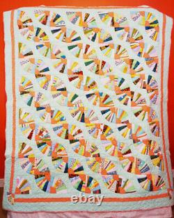 Vintage Green & Multi Color Quilt Fan Trail Pattern Hand Made & Quilted 1960's