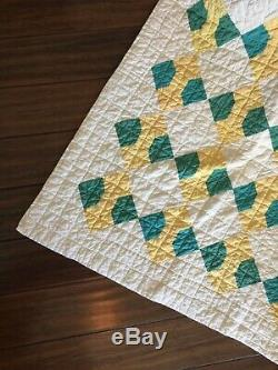 Vintage Green & Yellow Bowtie Hand Made Quilt 79 X 73 5 Star