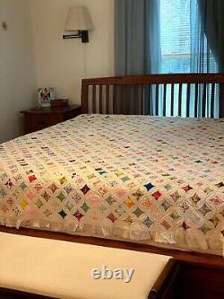 Vintage HANDMADE QUILT Bedspread CATHEDRAL WINDOW