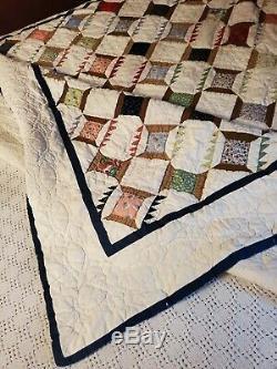 Vintage HANDMADE Thread Spool Patchwork COTTON QUILT 82 x 82 feedsack