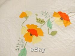 Vintage Hand Made Applique Quilt Size 74 X 90