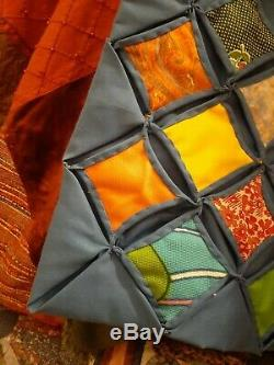 Vintage Hand Made Cathedral Window Quilt, Polyester and Cotton. 87 X 102