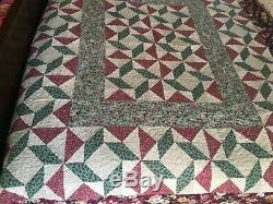 Vintage Hand Made Country Quilt Very Nice! Warm! 80 x 69