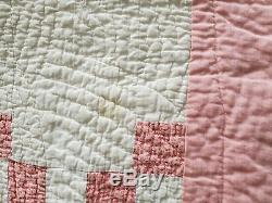Vintage Hand Made Hand Sewn Pink & White Quilt 73 x 76