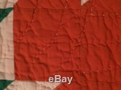 Vintage Hand Made Maple Leaf Design Quilt, Bold/Vibrant Colors, 67.5x78