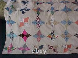 Vintage Hand Made Patchwork Quilt 86x 65 Multi Color Blocks Unique