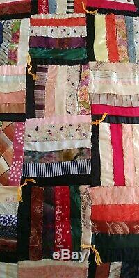Vintage Hand Made Quilt Early 1900's Quilt 68 x 60 Silk Ties