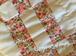 Vintage Hand Made Quilt Square Star Full/Queen 75 x 90 White / Multi