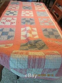 Vintage Hand Made Quilt Worn 78 x 68