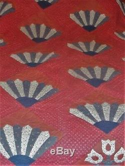 Vintage Hand Made & Signed Amish Quilt Grandmothers Fan & Flowers 84X72