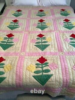 Vintage Hand Made Stitched Quilt Flower Pot Applique 62 x 79 Gorgeous