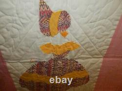 Vintage Hand Made Sunbonnet Sue Southern Belle Quilt 90x76