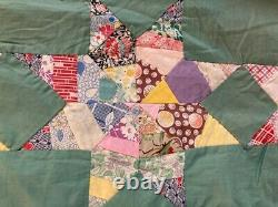 Vintage Hand Pieced 8 Point Star Quilt Top