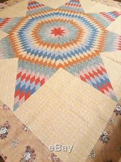 Vintage Hand Stitched Handmade Star of Bethlehem / Lone Star Quilt 76 x 76