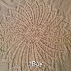 Vintage Hand Stitched Trapunto Quilt, Ivory, Oversize King
