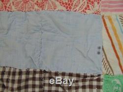 Vintage Handmade AMISH Bed Quilt Blanket 76 x 79 Squares Floral Flowers