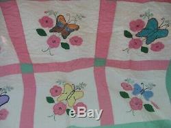 Vintage Handmade Applique Butterflies and Flowers Quilt, Full, 74 x 77