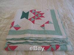 Vintage Handmade Basket Flower Pink Green Quilt
