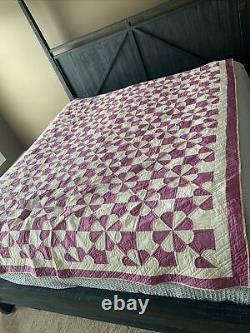 Vintage Handmade Bed Quilt 87 X 74 Purple White Lightweight