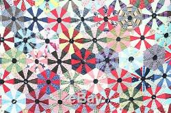 Vintage Handmade Brightly Colored Hexagons Patchwork Quilt Scalloped Edge
