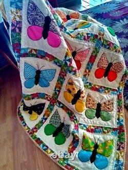 Vintage Handmade Butterfly Patchwork Quilt Blanket 1930's pattern 70 x 87
