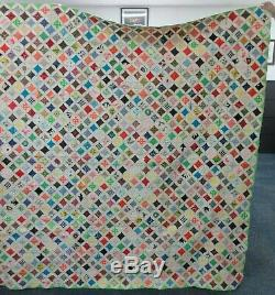 Vintage Handmade Cathedral Window Multi Color Quilt