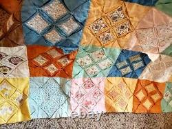 Vintage Handmade Cathedral Window Multi Color Quilt 8 Squares 86x118