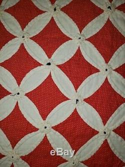Vintage Handmade Cathedral Window Quilt 77 x 84 Stunning