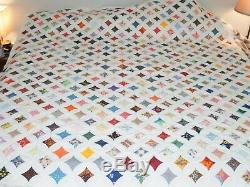 Vintage Handmade Cathedral Window Quilt Blanket 86 by 77