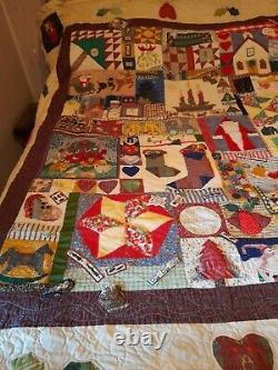 Vintage Handmade Christmas Theme Patchwork Applique Double Quilt Unique Design
