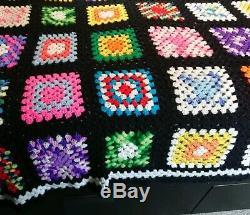 Vintage Handmade Crochet Granny Square Afghan Blanket Quilt Queen 103 x 90