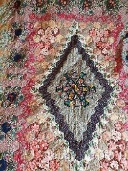 Vintage Handmade Diamond Geometric Patchwork Bed Spread King Size 98x98 approx