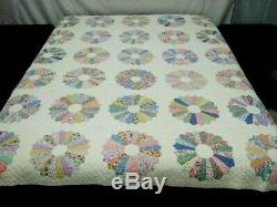 Vintage Handmade Dresden Plate Design Quilt c 1940s with Feedsack Materials