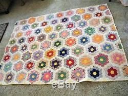 Vintage Handmade Feedsack QUILT Grandmother's flower GARDEN MINT Unused 77x58