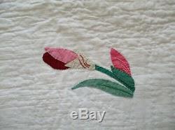 Vintage Handmade Floral Applique Iris Flower Quilt MINT 74x89