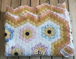 Vintage Handmade Floral Patch Quilt 89x69 Multi Colored R2