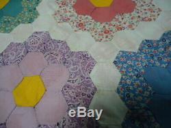 Vintage Handmade Flower Garden Quilt Top from the Arkansas Delta 77 X 95