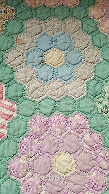 Vintage Handmade Grandma's Flower Garden Quilt 76 x 68