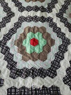 Vintage Handmade Grandmother's Flower Garden Quilt 81 x 70 Green & Gray