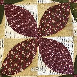 Vintage Handmade HAND QUILTED Floral Block Quilt 94.5 x 84.5 Maroon Green